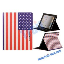 Factory Price High Quality ! Hot Selling Leather Stand Case for ipad 3 american flag (various design)