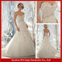 WD-1799 Fancy hand sew beading white and gold wedding dress beaded