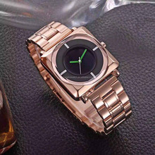 Women and Mens Square Case Analog Display Quartz Rose Gold Stainless Steel Bracelet Luxury Watch