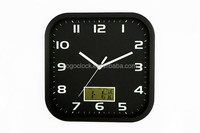 Fancy Design Square Shape Metal Wall Clock With LCD calendar