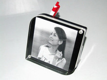 Freestanding Black Table Top Multi Magnetic Acrylic Photo Frame With Pen Holder