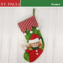 Low price plush cotton fabric velvet christmas stocking holiday gift