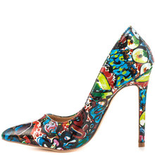 JUSITY 2015 Fashion Sexy Lady Flower Print Pointed Toe High Heels