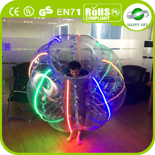 Brand new design Amazing 100% PVC/TPU LED lighting bumper balls, loopy football, bubble soccer free