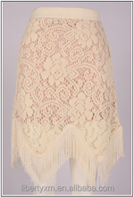 Summer 2016 ladies lace skirt with fringed hem