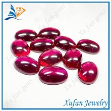 Wholesale oval shape red smooth glass cabochon