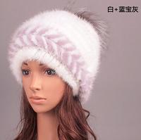 European Style ladies Fashion Knitted genuine mink fur hats headwear Female winter caps