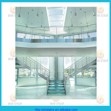 interior stainless steel glass staircase public use straight stainless steel stair