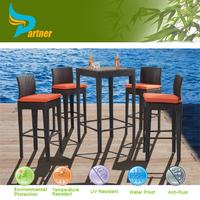 BBQ Style Outdoor Rattan Furniture Wicker Bar Set Dining Table Set with 4 Chairs