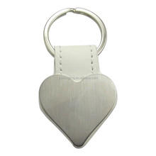 heart shape leather keychain with key ring