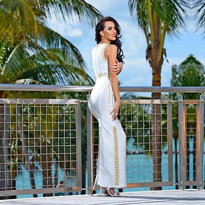 2016 branco longo vestido bandagem 90% rayon vestido de cocktail maxi