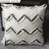Handcrafted poly- cotton wave decoration cushion for Home