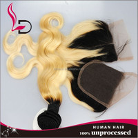 qingdao city Unprocessed 8a Brazilian Virgin Hair Ombre Human Hair Sew in Weave Two Tone Blonde 613 hair closure