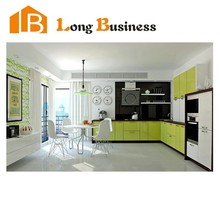 LB-JL1101 High Gloss Lacquer Finish Kitchen Cabinet, Green Kitchen Furniture with Artificial Stone Countertop