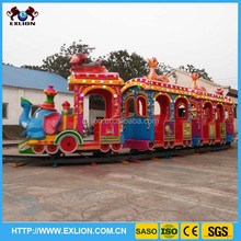 Backyard mini track train for children playing time