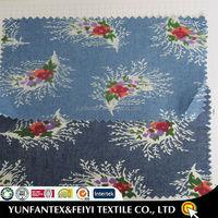 2015 latest design fashion soft Egyptian Cotton beautiful USA poplin FLOWER PRINTED DENIM FABRICS
