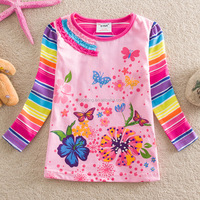 2-6Y (65511#Pink and White)children's wear rainbow sleeve winter cotton butterfly printed baby girl t shirt