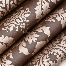 Levinger brown coffee color wallpaper manufacture damask 3d wallpaper home design pvc wallcoverings