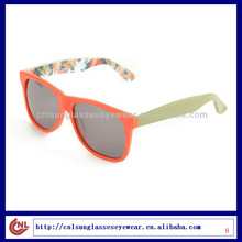 Hot Selling Popular Orange Frame Pattern Temple Sunglasses for the Young
