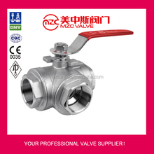 Manual 3 Way Screwed Ends SS Ball Valve For Steam