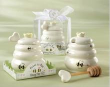 """""""Meant to Bee"""" Ceramic Honey Pot + heart honey stirrer wedding souvenir Porcelain Honey Jar"""