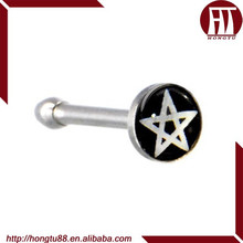 HT 316L Stainless Steel Black and White Pentagram Star Logo Nose Bone Nose Ring Body Piercing Jewelry