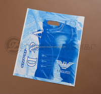 fashion design pe plastic shopping bag for jeans with hanging die cut hole from guangzhou china factory