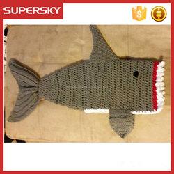 K-143 Knitting Baby Warm Bag Baby Sleeping Bag Shark Baby Sleeping Bag Shark Blanket