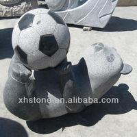 Panda and football Granite Stone Statue