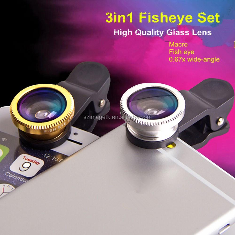 3 En 1 Teléfono Móvil Clip Lente Ojo de pez con micro kit para smartphones