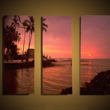 impressionist sunset beach coconut tree scenery group 3 panel oil paintings on canvas