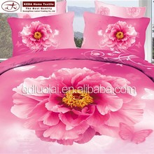 China wholesale beautiful home flowers bedding King size bed wedding bridal cotton 3d bedding set
