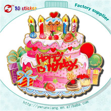 Paper Happy Birthday Cake Stickers, removable stickers 3d, birthday decorative stickers