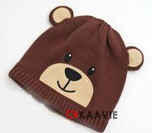 Do bebê recém-nascido animal do urso de brown malha beanie hat com as orelhas