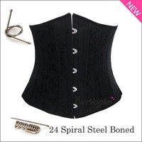 Stain Jacquard Close in front waist training cincher 24 Steel Boned Underbust Corset for women