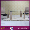 C288 tempered glass and mdf dining table furniture