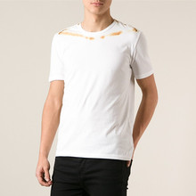 white mens lycra spandex t shirt with rust coloured print