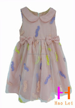 kids clothing mesh dress girls party dresses fashion frock with bows