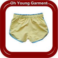 factory price beach short pant custom design women cotton plain yellow short pant with string tighter wholesale in bulk