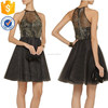 Wholesale women halter neck fit waist and bust sleeveless embroidered tulle dress with flared skirt