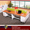 white high gloss computer desk with cheap price / office counter table for 4 persons