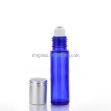 blue glass bottle with glass/stainless steel roller factory sale