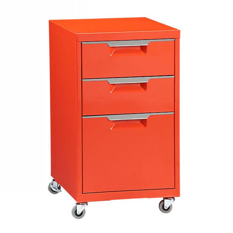 Mobiele ladeblok rode kleur melamine archiefkast onder bureau indienen ladeblok met wielen - Bibliotheek wielen ...