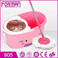 2015 newest design hello kitty magic spin mop with stainless steel basket item TB-905