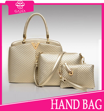 2015 Newest Pictures golden V type texture 3pc set bag Lady purse and handbags,Hot Sale High Fashion Woman Handbag from China