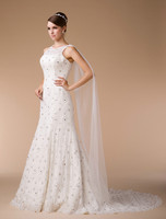 HM96106 2015 latest design top quality factory made french lace appliqued wedding dresses with Cap Sleeves