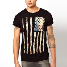 slim fit man black t-shirt with the flag