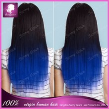 Hot seling! Indian virgin hair full lace human hair wigs for black woman #1 ombre blue human hair lace front wig in stock