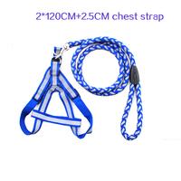 pet traction belt reinforcement reflective back chain small chest strap Puppy Dog Leash 2.0*120CM+2.5CM