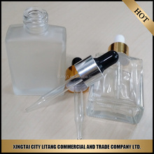 Clear square essential Oil Bottles for cosmetic packaging 30ml/glass dropper bottle